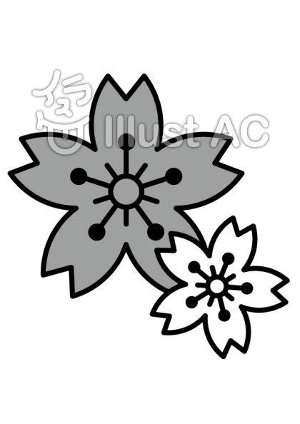 桜の花びらの無料フリーイラスト素材グレースケール