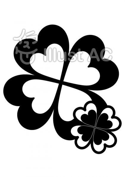 クローバーの無料フリーイラスト素材白黒モノクロ