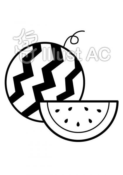 スイカの無料フリーイラスト素材白黒モノクロ