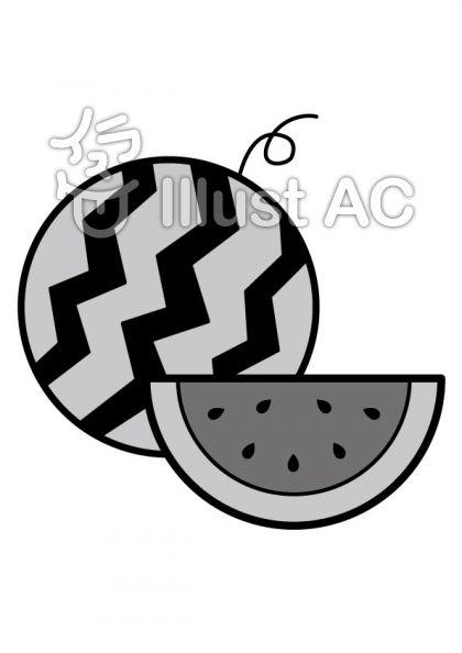 スイカの無料フリーイラスト素材グレースケール