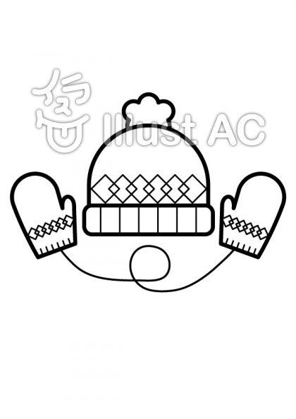 帽子とミトンの無料フリーイラスト素材白黒モノクロ