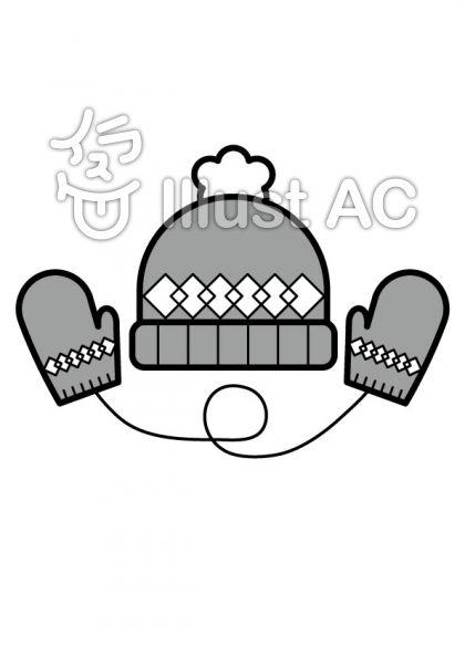 帽子とミトンの無料フリーイラスト素材グレースケール