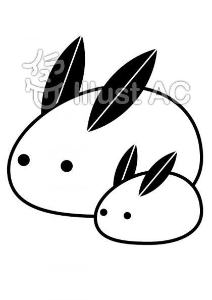 雪うさぎの無料フリーイラスト素材白黒モノクロ