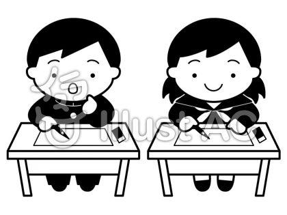 テスト学生の無料フリーイラスト素材白黒モノクロ