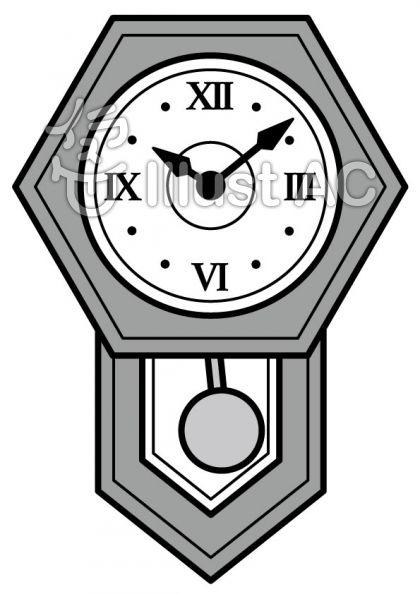 振り子時計の無料フリーイラスト素材グレースケール