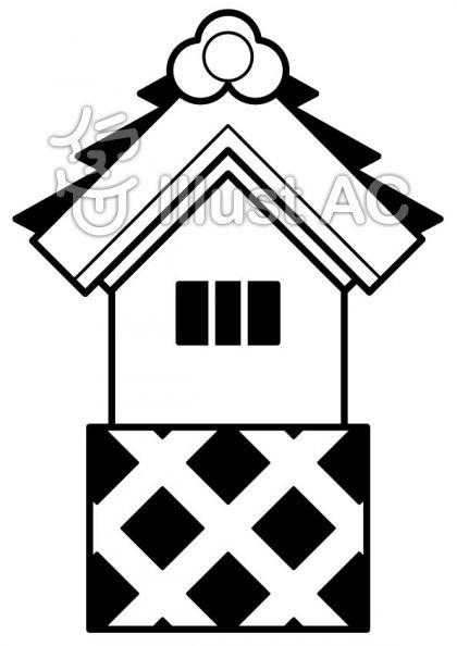 蔵の無料フリーイラスト素材白黒モノクロ