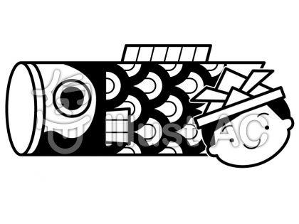 端午の節句の無料フリーイラスト素材白黒モノクロ