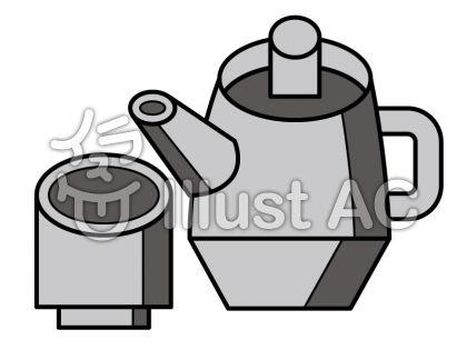 お茶の無料フリーイラスト素材グレースケール