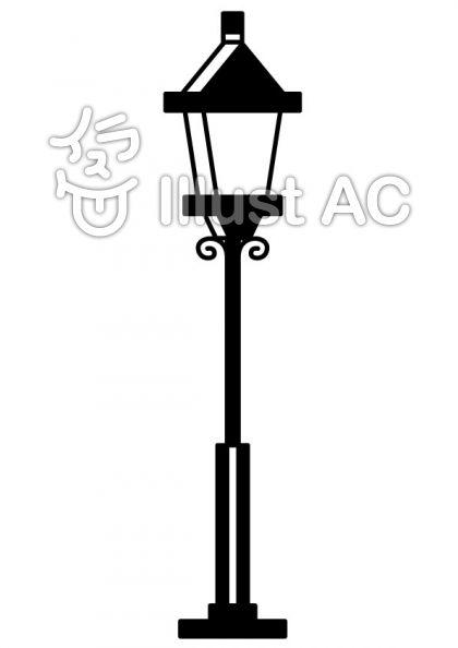 街灯の無料フリーイラスト素材白黒モノクロ