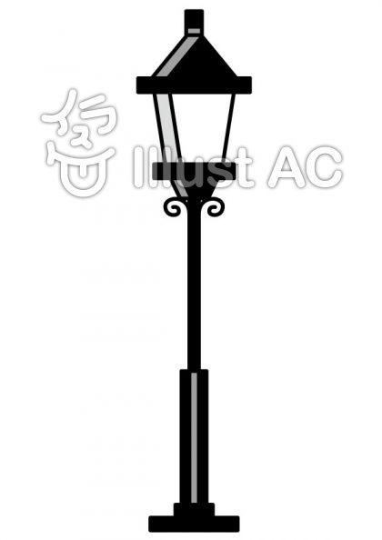 街灯の無料フリーイラスト素材グレースケール