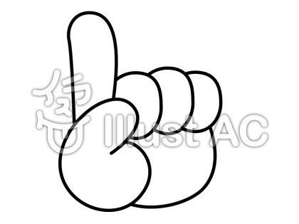 指差しの無料フリーイラスト素材白黒モノクロ