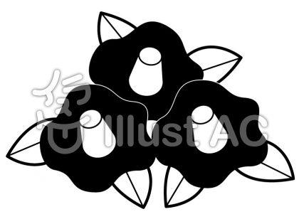 椿の無料フリーイラスト素材白黒モノクロ