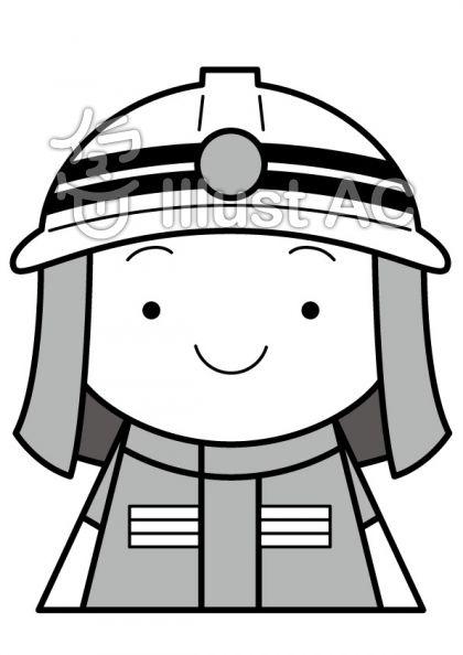 消防士の無料フリーイラスト素材グレースケール