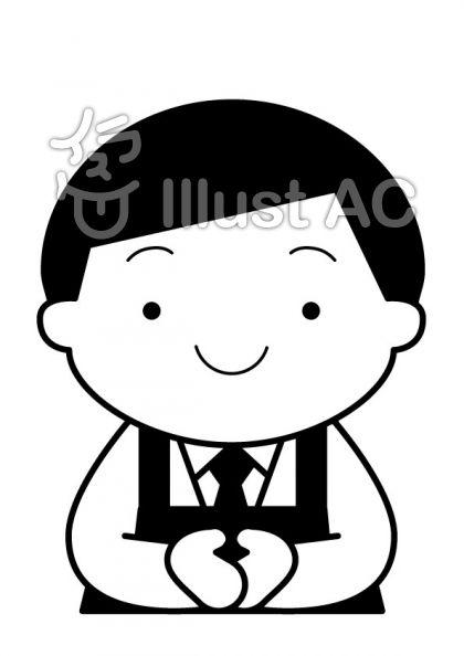 店員の無料フリーイラスト素材白黒モノクロ