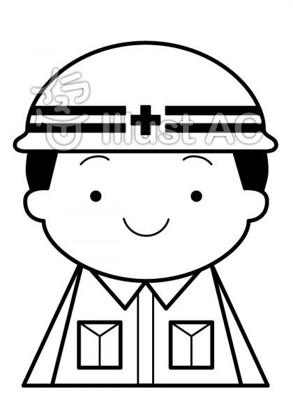建築業の無料フリーイラスト素材白黒モノクロ