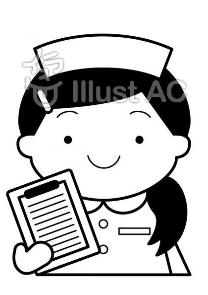看護師の無料フリーイラスト素材白黒モノクロ