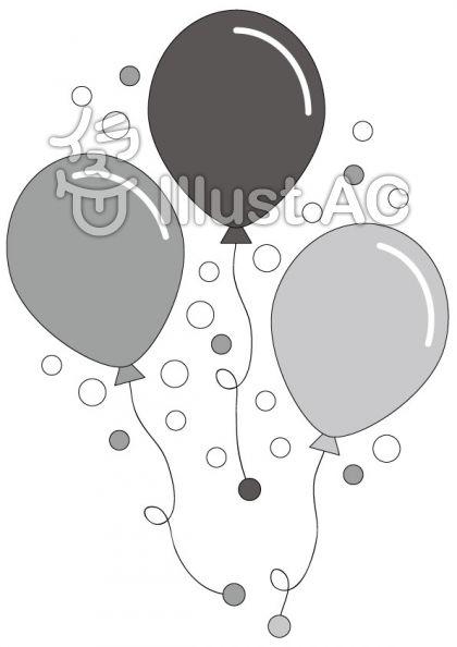 風船の無料フリーイラスト素材グレースケール