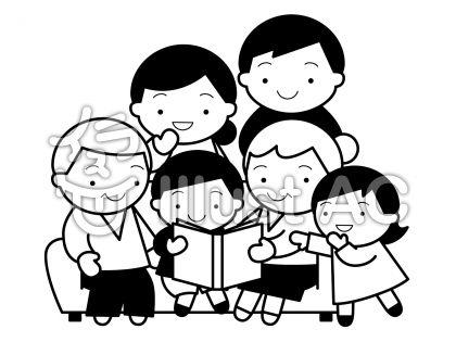 三世代団欒の無料フリーイラスト素材白黒モノクロ