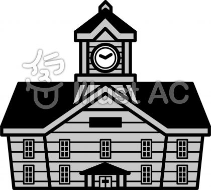 時計台の無料フリーイラスト素材グレースケール