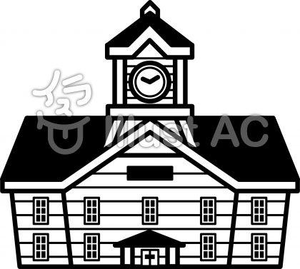 時計台の無料フリーイラスト素材白黒モノクロ