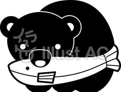 木彫りの熊の無料フリーイラスト素材白黒モノクロ