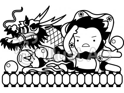 ねぶた祭の無料フリーイラスト素材白黒モノクロ