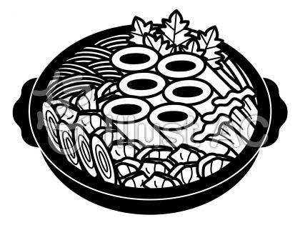 きりたんぽ鍋の無料フリーイラスト素材白黒モノクロ
