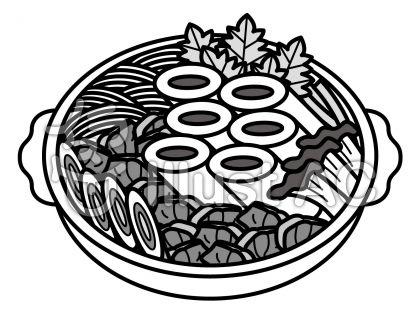 きりたんぽ鍋の無料フリーイラスト素材グレースケール