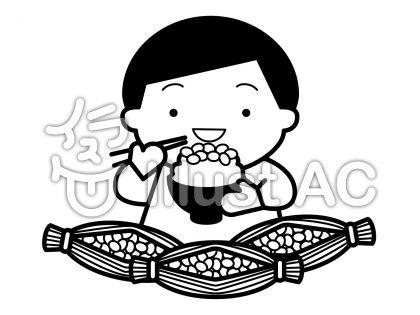 納豆の無料フリーイラスト素材白黒モノクロ