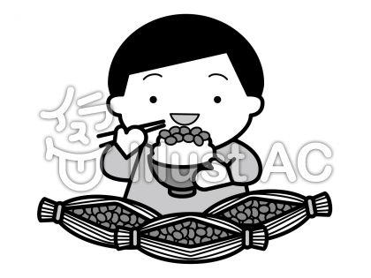納豆の無料フリーイラスト素材グレースケール