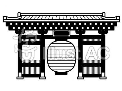 雷門の無料フリーイラスト素材白黒モノクロ