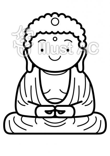 鎌倉の大仏の無料フリーイラスト素材白黒モノクロ