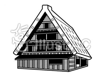 白川郷雪なしの無料フリーイラスト素材白黒モノクロ