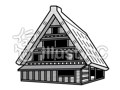 白川郷雪なしの無料フリーイラスト素材グレースケール
