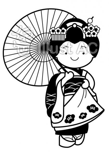 舞妓さん傘ありの無料フリーイラスト素材白黒モノクロ