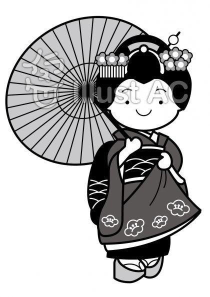 舞妓さん傘ありの無料フリーイラスト素材グレースケール