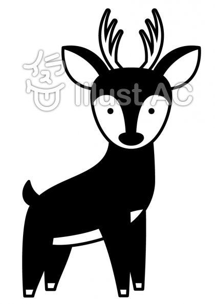 鹿の無料フリーイラスト素材白黒モノクロ