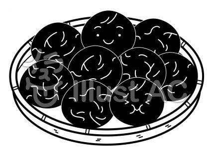 梅干しの無料フリーイラスト素材白黒モノクロ