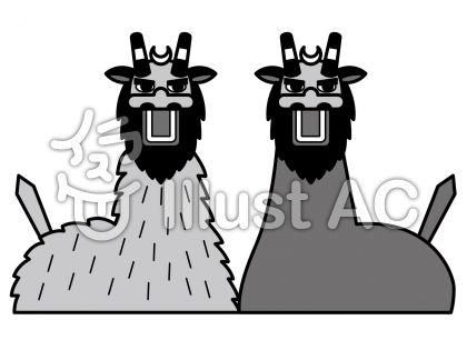 宇和島牛鬼祭りの無料フリーイラスト素材グレースケール