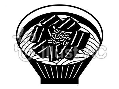 肉うどんの無料フリーイラスト素材白黒モノクロ