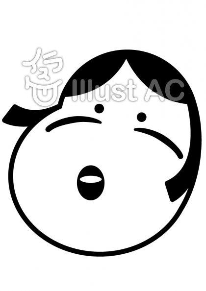 おかめの無料フリーイラスト素材白黒モノクロ