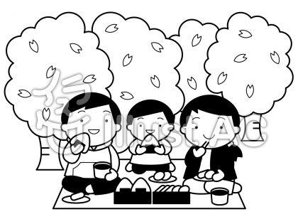 お花見家族の無料フリーイラスト素材白黒モノクロ