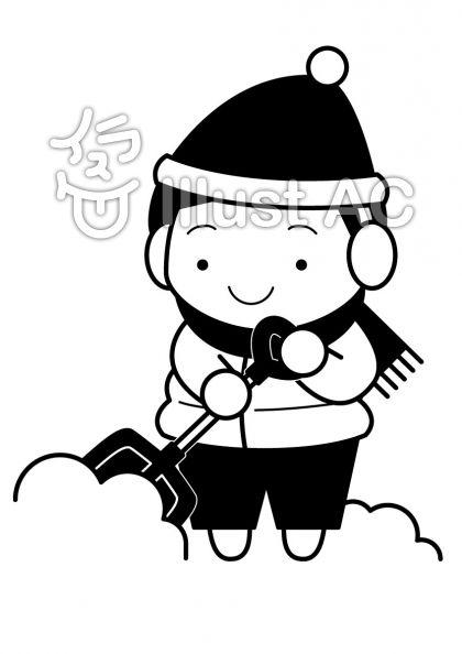 雪かきの無料フリーイラスト素材白黒モノクロ