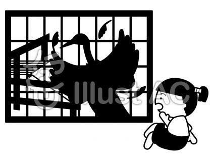 鶴の恩返しの無料フリーイラスト素材白黒モノクロ