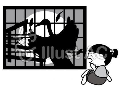 鶴の恩返しの無料フリーイラスト素材グレースケール
