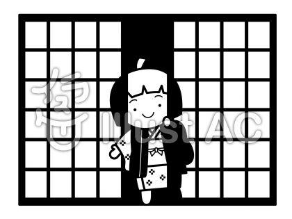 座敷童子の無料フリーイラスト素材白黒モノクロ