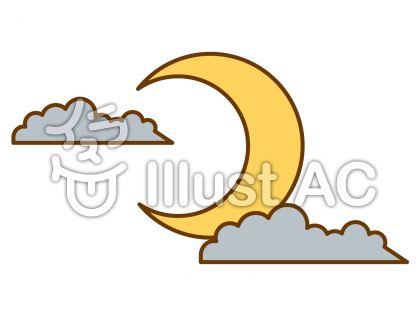 月と雲の無料フリーイラスト素材