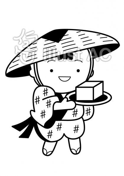 豆腐小僧の無料フリーイラスト素材白黒モノクロ