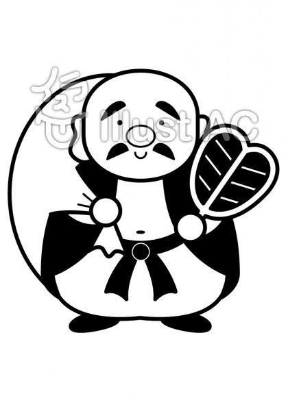 布袋尊の無料フリーイラスト素材白黒モノクロ