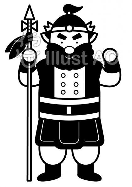 毘沙門天の無料フリーイラスト素材白黒モノクロ